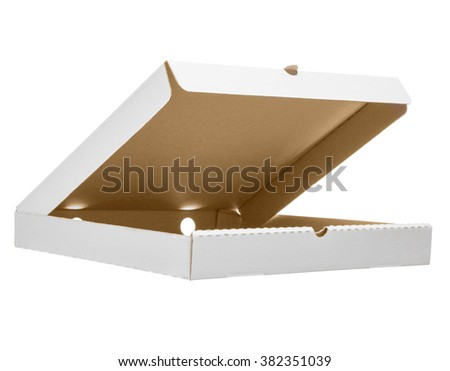 Low angle shot of white open pizza box. Photo isolated on white with clipping path. Mockup. - stock photo