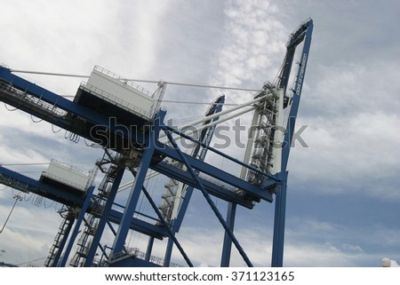 Low angle view harbor equipment
