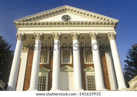 Low angle view of a building in the campus of University of Virginia in Charlottesville, VA - stock photo