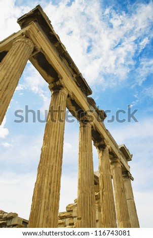 Low angle view of a colonnade, Acropolis, Athens, Greece