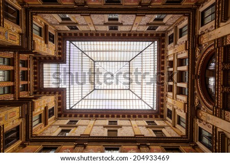 low angle view of a historical public atrium in Rome, Italy