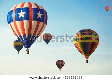 Low angle view of a hot air balloons in Sunrise Hot Air Balloon Race, Miami, Miami-Dade County, Florida, USA - stock photo