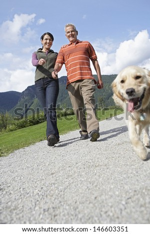 Low angle view of a middle aged couple walking with golden retriever on country road - stock photo