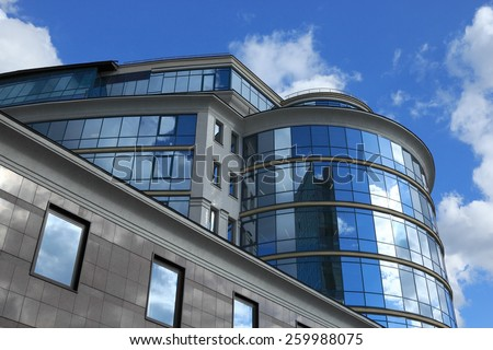 Low angle view of a modern commercial building  - stock photo