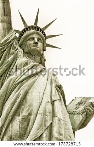 Low angle view of a statue, Statue Of Liberty, Liberty Island, New York City, New York State, USA - stock photo