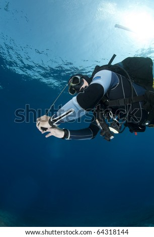 Low-angle view of an adult male scuba diver holding a surface marker buoy. Yolanda reef, Ras Mohamed National Park, Red Sea, Egypt. - stock photo
