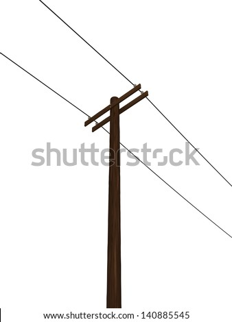 Low Angle View of an Isolated Power Pole - stock photo