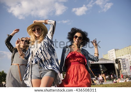 Low angle view of girls at the party