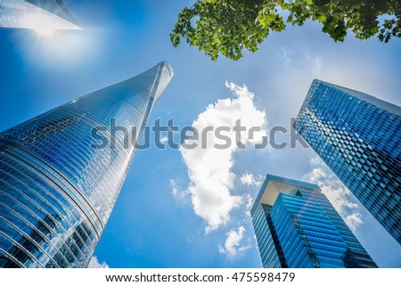 Low angle view of Modern Office Buildings
