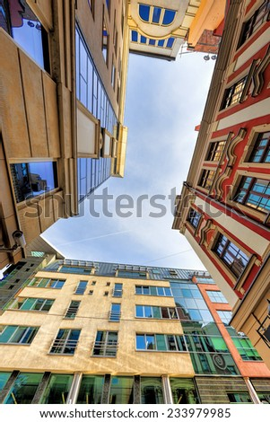 Low angle view of modern offices in Wroclaw, Poland - stock photo