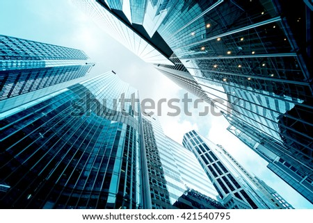 Low angle view of Office Buildings - stock photo