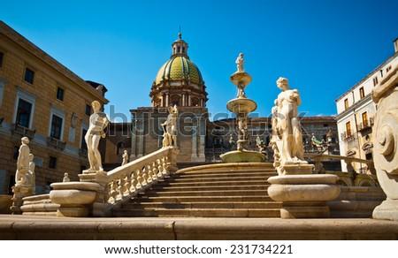 Low angle view of Piazza Pretoria or Piazza della Vergogna, Palermo, Sicily, Italy - stock photo