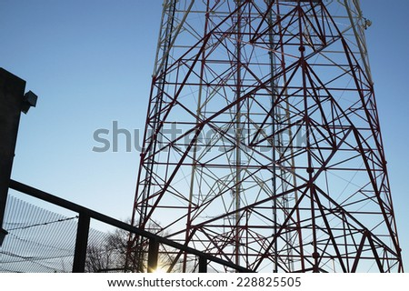 Low angle view of pylon against blue sky