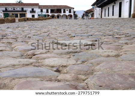 Low Angle View of Rough Cobblestone Streets at Plaza Mayor, Villa de Leyva, Colombia