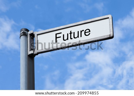 Low angle view of signpost with Future sign against sky - stock photo