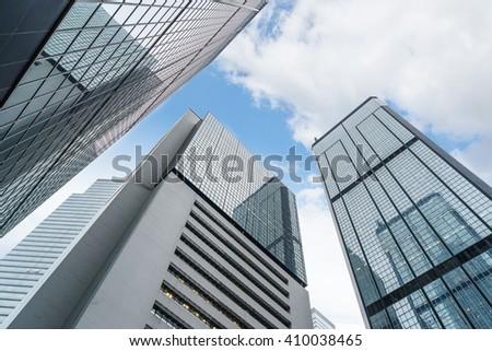 low angle view of skyscraper,hongkong china. - stock photo