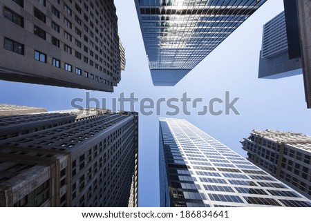 Low angle view of skyscrapers in the Financial District of New York, USA - stock photo