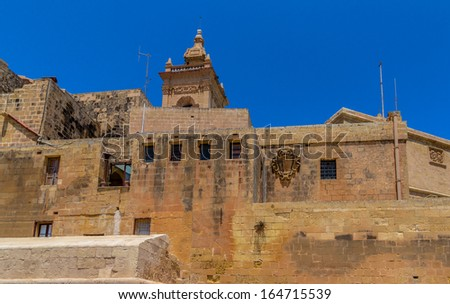 Low angle view of the Citadel of Gozo with its walls in Malta.