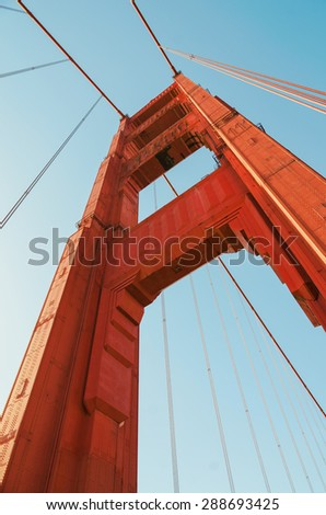 Low angle view of the Golden Gate Bridge