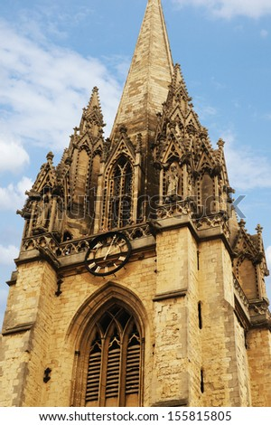 Low angle view of university church, University Church Of St Mary The Virgin - stock photo