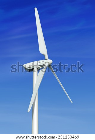 low angle view of wind turbine against partly cloudy blue sky - stock photo