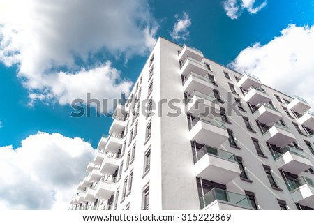 low angle view on modern residential houses in berlin - stock photo