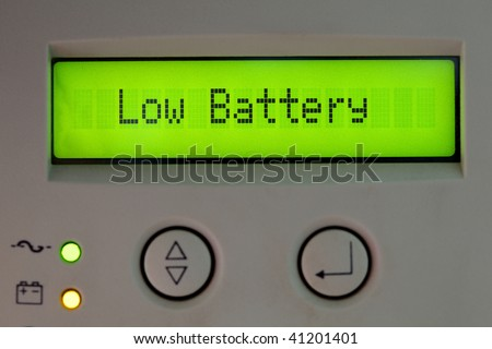low battery digital message - stock photo