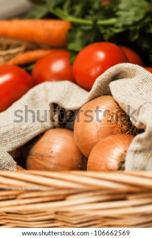 Low-calorie vegetables in basket - stock photo