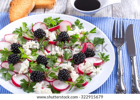 low-calories  parsley, blackberry, radish and  goat cheese organic salad on the white dish on the table napkin, top view, selective focus  - stock photo