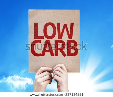 Low Carb card with sky background - stock photo