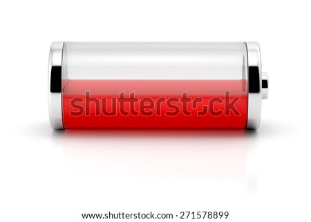 Low charge level red battery icon isolated on white background