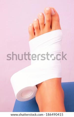 low-dye taping functional bandage tibial tarsal - stock photo