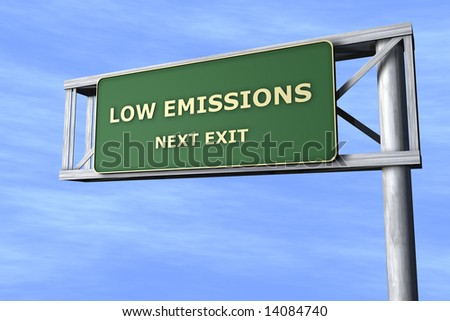 Low emissions - Next exit - stock photo