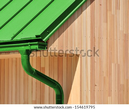 Low-energy passive wooden house or building - stock photo