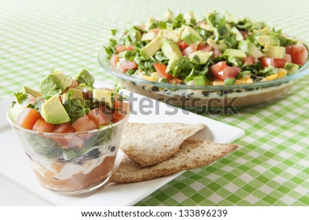 Low Fat Mexican Layered Dip - stock photo