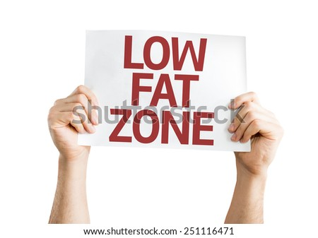 Low Fat Zone card isolated on white background - stock photo