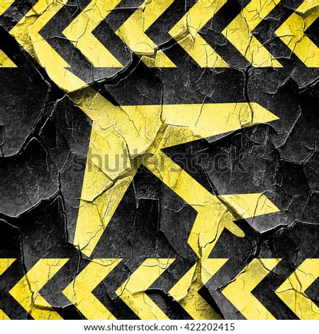 Low flying planes sign, black and yellow rough hazard stripes