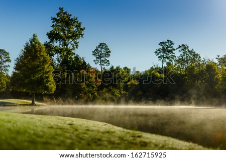 Low fog Lake - stock photo