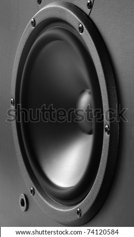 Low frequency loudspeaker with vibrating diaphragm. - stock photo