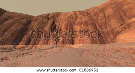 Low Gravity Highlands on Mars with Extensive Erosion - stock photo