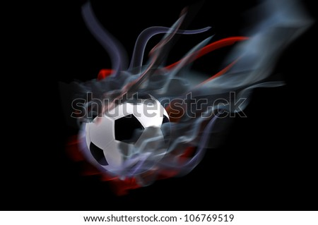 low key football with fire shooting. - stock photo