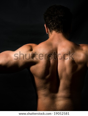 Low key image of muscular male back - stock photo