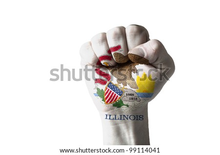 Low key picture of a fist painted in colors of american state flag of illinois - stock photo