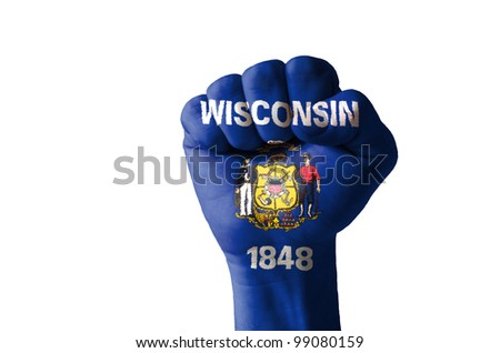 Low key picture of a fist painted in colors of american state flag of wisconsin - stock photo