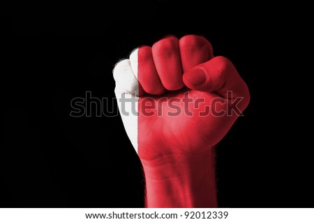 Low key picture of a fist painted in colors of bahrain flag