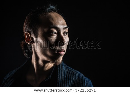 low key portrait silhouette of man looking or thinking