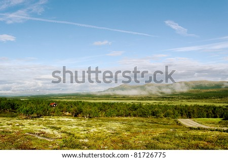 Low lands and mountains in the Norway.