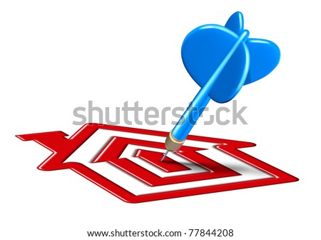 low mortgage rates symbol represented by a blue dart landing on a bulls eye target that is in the shape of a house representing housing and home sales due to affordable interest costs. - stock photo