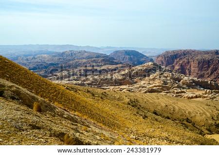 Low Mountains  Sinai desert in Jordan in November - stock photo