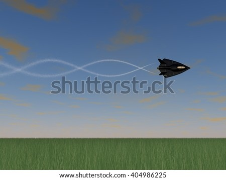 low pass of a futuristic fictional black stealth fighter airplane doing barrel rolls above a meadow